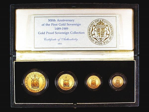 United Kingdom 1989 Gold Proof Sovereign Four Coin Collection 500th Anniversary of the Sovereign, Half Sovereign, Sovereign, Two Pounds, Five Pounds, the Sovereign with a tiny tone spot, nFDC-FDC cased as issued with certificate