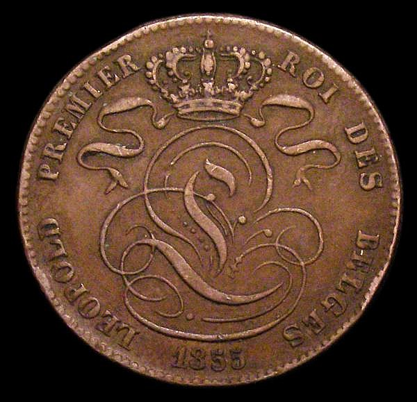 Belgium 5 Centimes 1855 Small 55 KM#5.1 GF with some small edge bruises