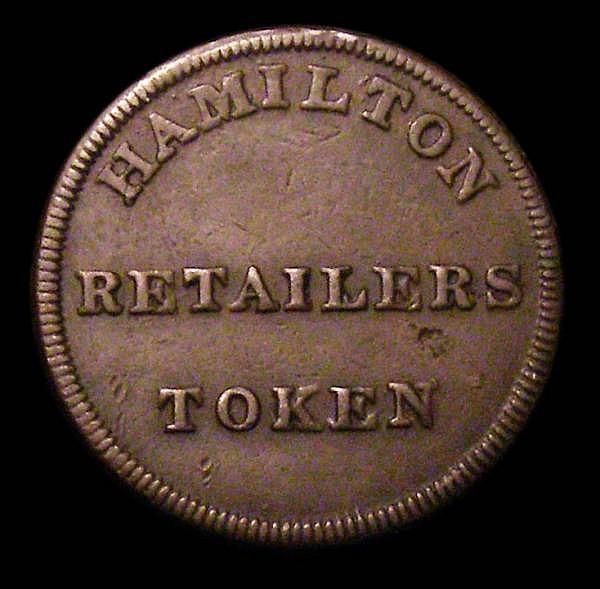 Farthing 19th Century 1814 Lanarkshire, Hamilton DH4a with oblique edge milling Good Fine, Rare