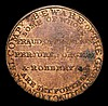 Augustus Cove, London medalet in the style of an 18th Century Halfpenny Token 27mm diameter and in copper weighing 6.8 grammes, die axis upright, Augustus Cove a dealer in China and Glass, was criminally and unjustly treated by the Grand Junction