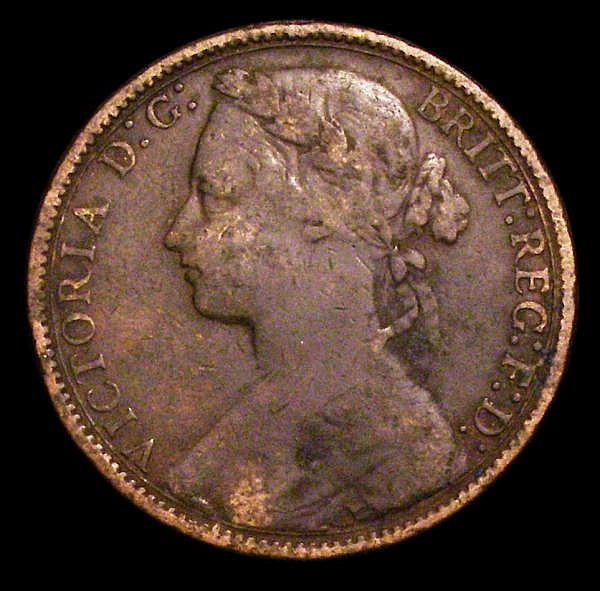 Penny 1875h Freeman 85 dies 8+J VG with green deposit on the surfaces