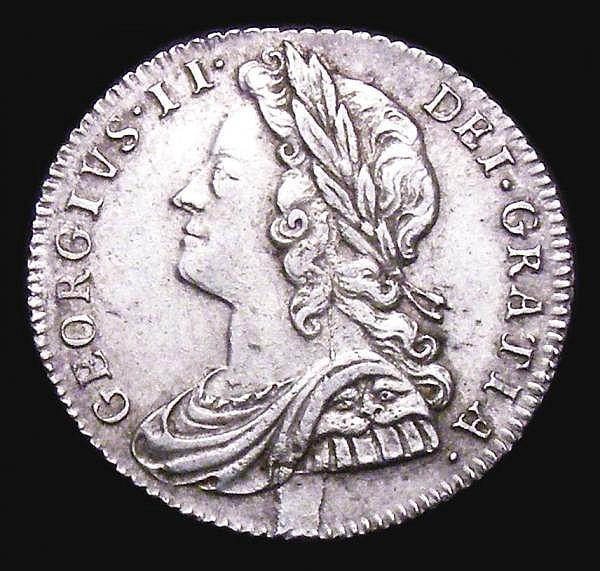 Sixpence 1728 Plain in angles ESC 1603 VF with a striking flaw on the obverse below the bust, the reverse with some light haymarking, very rare, rated R2 by ESC
