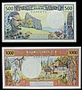 Tahiti (2) 500 francs & 1000 francs both issued 1985, signature 5, PAPEETE on reverse, Pick25d and Pick27d, about UNC