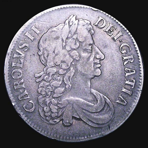 Crown 1675 5 over 3 VICESIMO SEPTIMO ESC 50A Fine, Very rare in any grade, rated R3 by ESC, our archive database shows this is only the third, and thus far the finest example we have offered