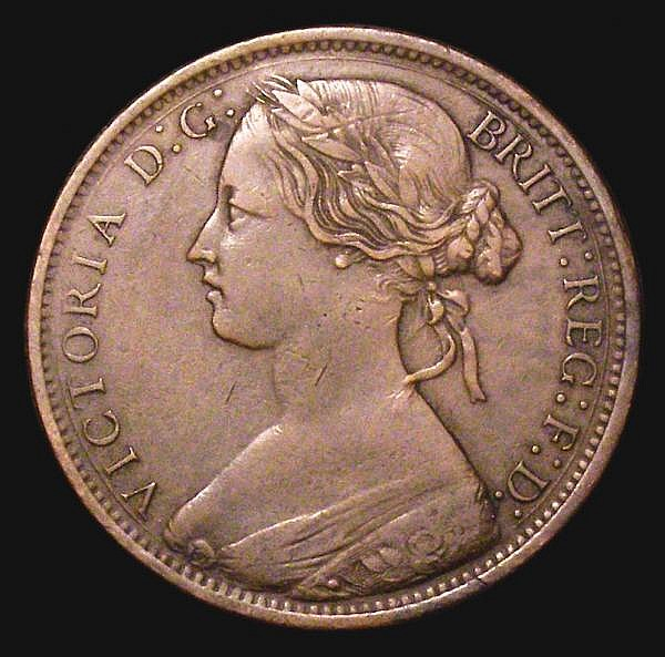 Penny 1869 Freeman 59 dies 6+G Nearer VF than Fine, with some residual dirt in the reverse rim