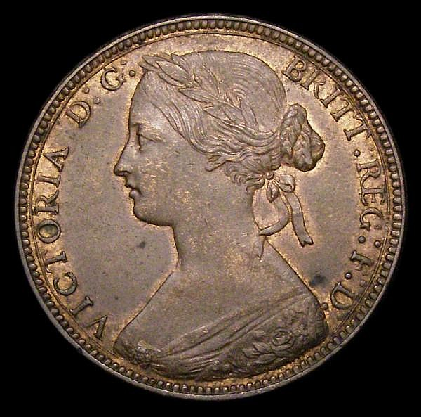Penny 1860 Toothed Border Freeman 10 dies 2+D EF/NEF with traces of lustre, the obverse with a couple of small spots