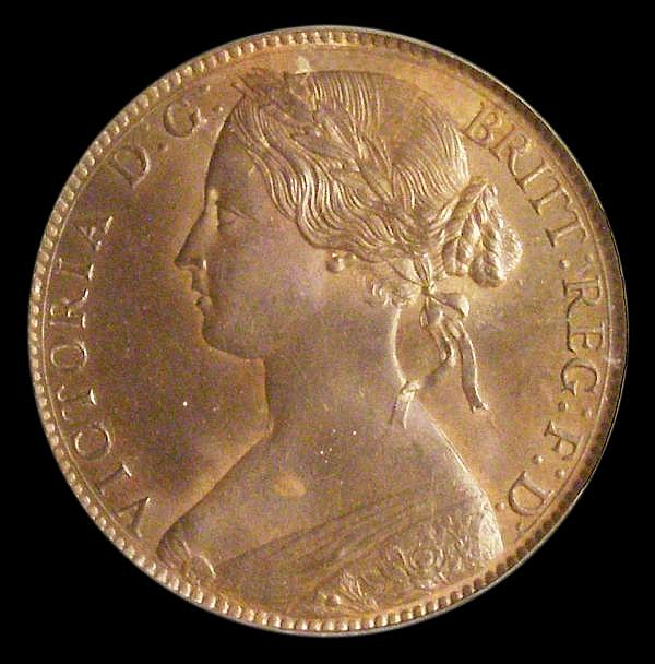 Penny 1861 Freeman 33 dies 6+G Toned UNC, slabbed and graded LCGS 80