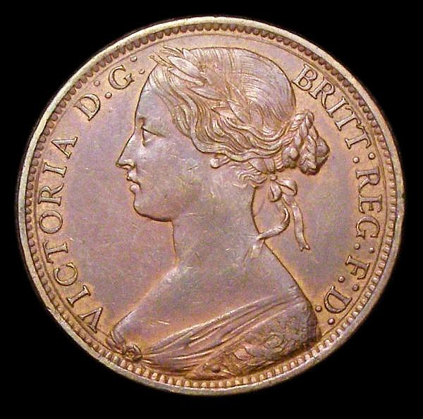 Penny 1860 Toothed Border Freeman 17 dies 6+G VF once cleaned now almost fully retoned, Scarce