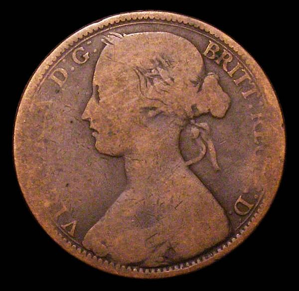 Penny 1863 Open 3 in date unlisted by Freeman, Gouby 1863B, Satin 46, the variety confirmed by the 3 having a curved downward diagonal stroke, VG very few examples recorded