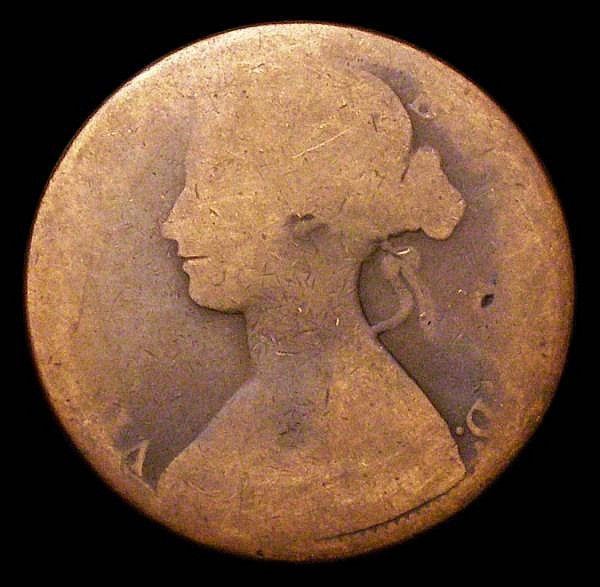 Penny 1866 the 8 struck over a 6, traces of the overstrike in the outside left of the 8, Fair