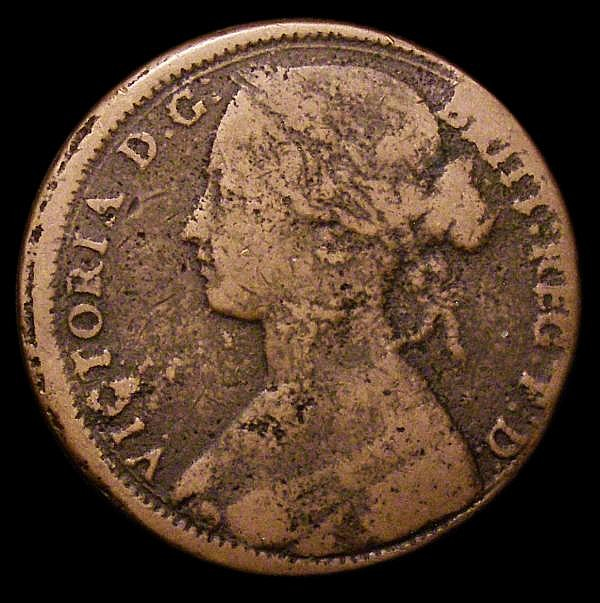 Penny 1863 struck on a thicker heavy flan weighing 12.1 grammes, the flan around 1.75mm thick, the obverse struck slightly off centre Fair, unusual
