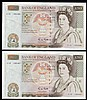 Fifty pounds Gill B356 (2) a consecutively numbered pair series C15 195486 & C15 195487, Pick381b, GEF to about UNC