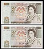Fifty pounds Gill B356 (2) a consecutively numbered pair series C15 195482 & C15 195483, Pick381b, GEF to about UNC