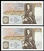 Fifty pounds Gill B356 (2) a consecutively numbered pair series C15 195476 & C15 195477, Pick381b, GEF to about UNC