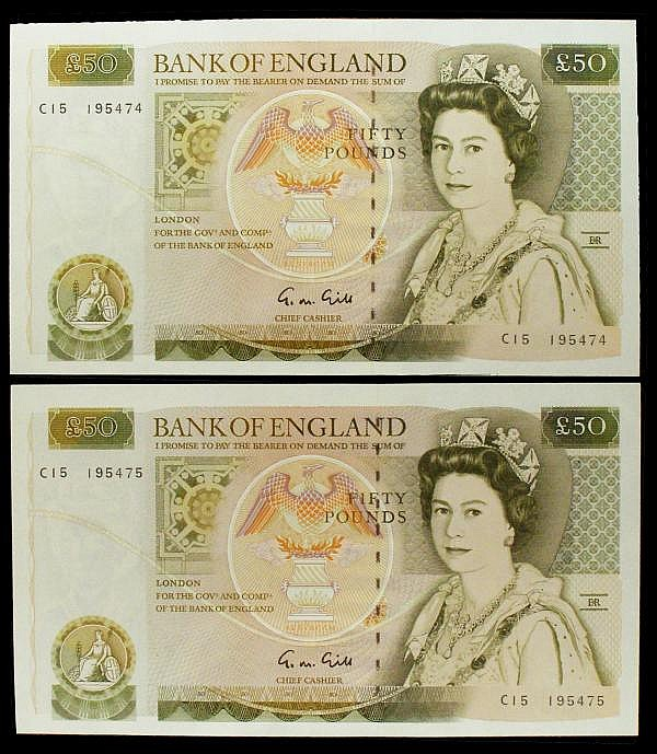 Fifty pounds Gill B356 (2) a consecutively numbered pair series C15 195474 & C15 195475, Pick381b, GEF to about UNC