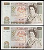 Fifty pounds Gill B356 (2) a consecutively numbered pair series C15 195472 & C15 195473, Pick381b, GEF to about UNC