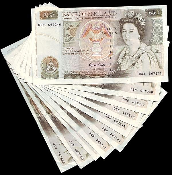 Fifty Pounds Gill (10) all D prefixes includes a run of 6 consecutives, VF to EF with some folds