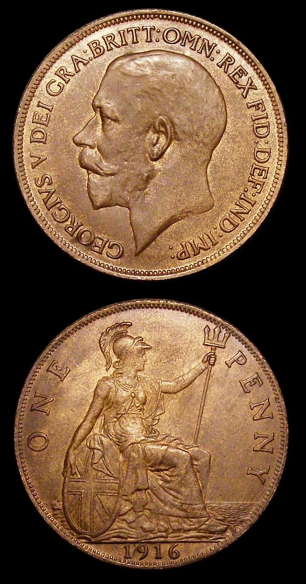 Pennies 1916 both with recessed ear, one with reworked reverse die thus having no sea to the left behind Britannia, both UNC and nicely toned, one with minor cabinet friction
