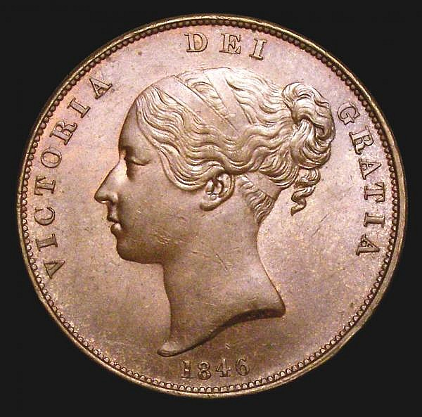 Penny 1846 DEF Far Colon Peck 1490 AU/GEF toned with a light edge bruise