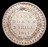Three Shilling Bank Token 1811 Bust type 26 Acorns ESC 408 UNC and lustrous