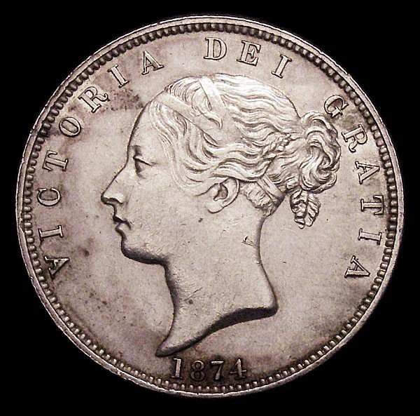 Halfcrown 1874 Plain 4 in date ESC 692 NEF with some contact marks, the obverse with some uneven tone