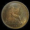 Penny 1889 Freeman 128 14 Leaves dies 13+N Toned UNC with traces of lustre, slabbed and graded LCGS 80