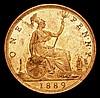 Penny 1889 14 Leaves Freeman 128 dies 13+N UNC and almost fully lustrous