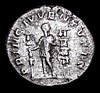 Diadumenian.  Ar denarius.  C, 217-218 AD.  Rev; PRINC IVVENTVTIS; Diadumenian standing front, head r., holding standard and sceptre; in field r., two standards.  RIC Macrinus 102.  3.43g.  NVF/Fine