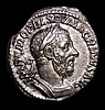 Macrinus. Ar denarius. C, 217-218 AD. Rev; PONTIF MAX TR P COS P P; Securitas, draped, standing left, legs crossed, holding vertical sceptre in right hand and resting left arm on column to right, fold of drapery falling over left arm. RIC IV 24.
