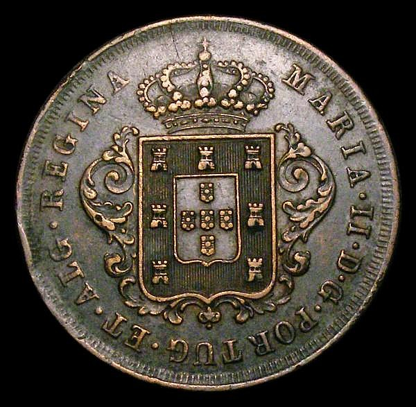 Madeira Islands 10 Reis 1842 KM#2 VF with some edge nicks, possibly once lightly cleaned, now retoned