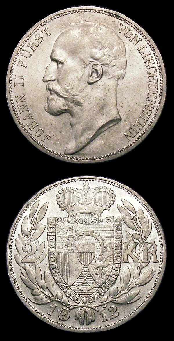 Liechtenstein (2) Frank 1924 Y#8 EF with some edge nicks and some small spots on the obverse, 2 Kronen 1912 Y#3 UNC with some small spots on the obverse