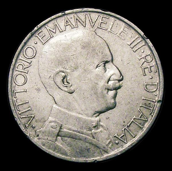 Italy 2 Lire 1927R KM#63 GF/NVF with some rim nicks, Rare