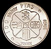 Spain 100 Pesetas 1966 (68) as KM#797 with a sharp and prooflike appearance, UNC with reflective fields, we note the Proofs are unlisted for this date and type, this certainly with a completely different finish to the currency coin