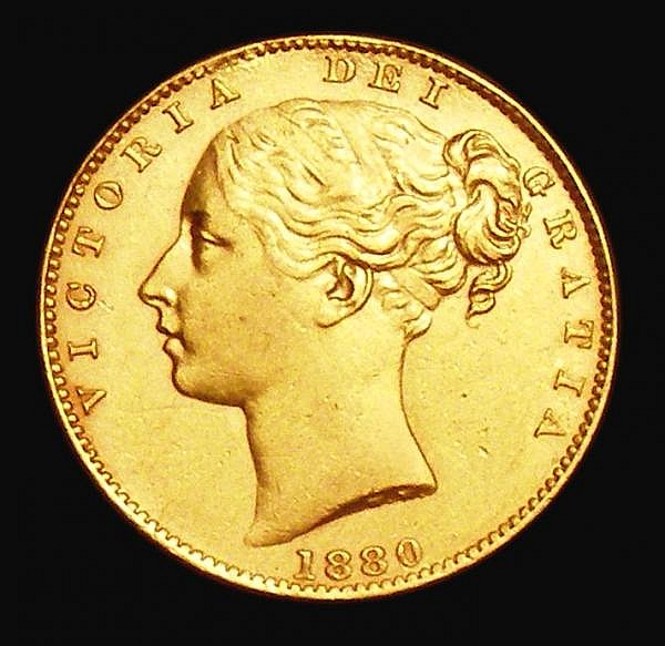 Sovereign 1880M Shield Reverse Marsh 61 EF the obverse with some thin scratches in the field, Very Rare