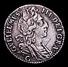 Sixpence 1697C Third Bust, Small Crowns, Later Harp ESC 1570 NVF/GF with some old scratches on the obverse, Very Rare, rated R3 by ESC