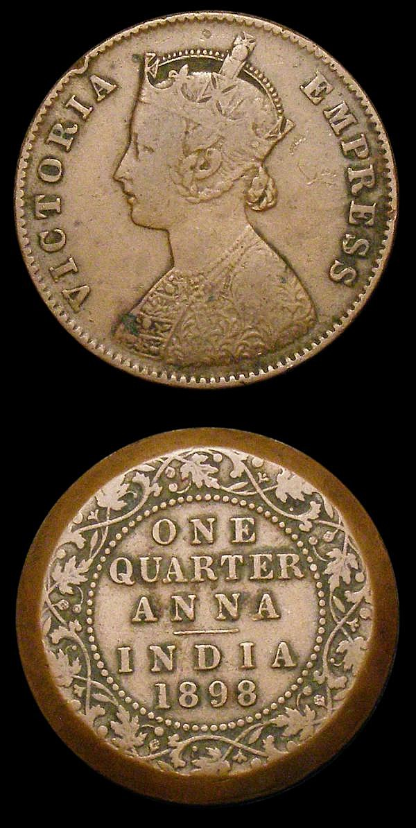 Mint Error - Mis-Strike India Quarter Anna 1835 East India Company Obverse Brockage, VG Rare, Mint Error - Mis Strike India Quarter Anna 1898 struck without a collar however the coin well centred with a 'tapered edge' the reverse having a smaller