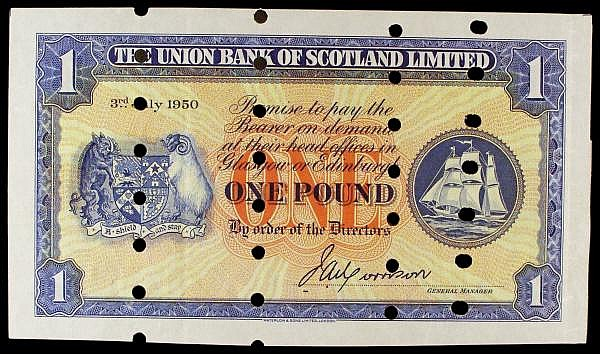 Scotland Union Bank 1 printers proof dated 3rd July 1950, Pick s816a, 4 rows of small cancellation holes, GEF
