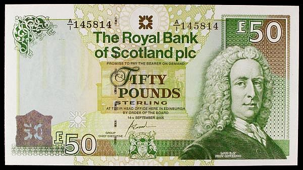 Scotland Royal Bank of Scotland plc 50 dated 14th September 2005 first series A/1 145814 Pick367, UNC