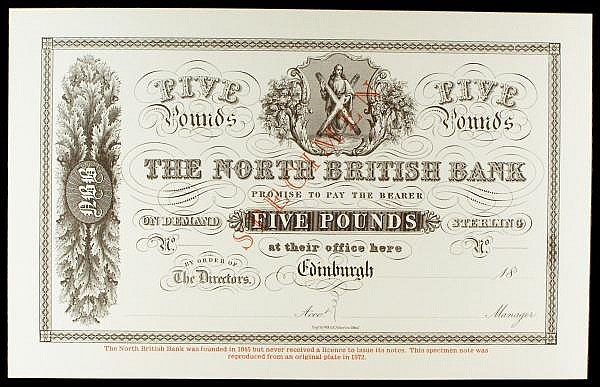 Scotland North British Bank 5 reproduction from original 1800s plate (issued 1972), ovpt SPECIMEN in red, about UNC to UNC