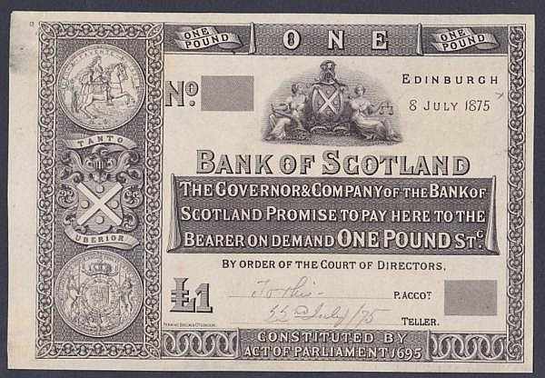 Scotland Bank of Scotland black & white thin paper proof dated 8th July 1875, Perkins, Bacon & Co. printers, Pick65 for type, mount marks and taped corner on reverse, EF+