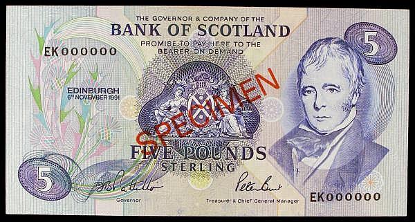 Scotland Bank of Scotland 5 SPECIMEN dated 6th November 1991 series EK000000, signed Pattullo & Burt, Pick116bs, faint ink smudge, UNC