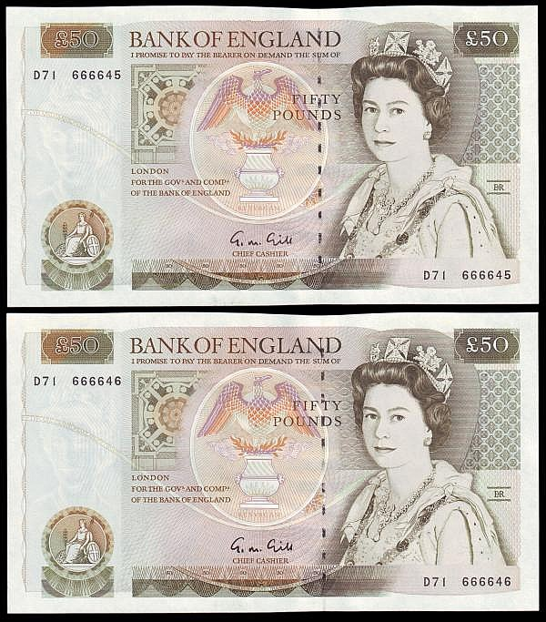 Fifty pounds Gill B356 (2) a consecutively numbered pair series D71 666645 & D71 666646, Pick381b, about UNC to UNC