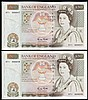 Fifty pounds Gill B356 (2) a consecutively numbered pair series D71 666647 & D71 666648, Pick381b, about UNC to UNC