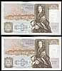 Fifty pounds Gill B356 (2) a consecutively numbered pair series D71 666621 & D71 666622, Pick381b, about UNC to UNC
