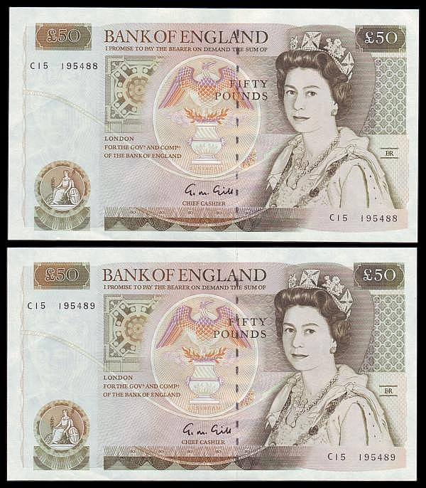 Fifty pounds Gill B356 (2) a consecutively numbered pair series C15 195488 & C15 195489, Pick381b, GEF to about UNC
