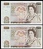 Fifty pounds Gill B356 (2) a consecutively numbered pair series C15 195490 & C15 195491, Pick381b, EF to GEF