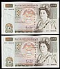 Fifty pounds Gill B356 (2) a consecutively numbered pair series D71 666639 & D71 666640, Pick381b, about UNC to UNC