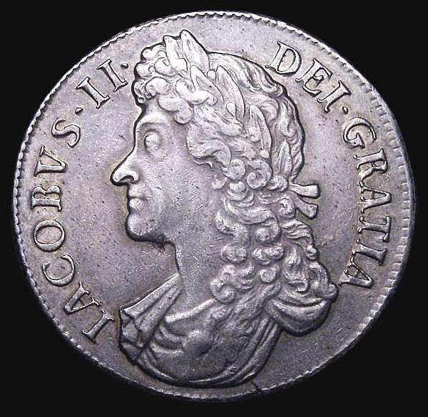 Crown 1688 QVARTO ESC 80 NEF and with a pleasing grey tone, and a small edge flaw below the bust and a fleck of haymarking obverse field, ex LCA 134 (Sep 2011) Lot 1823 realised 2,500 hammer price