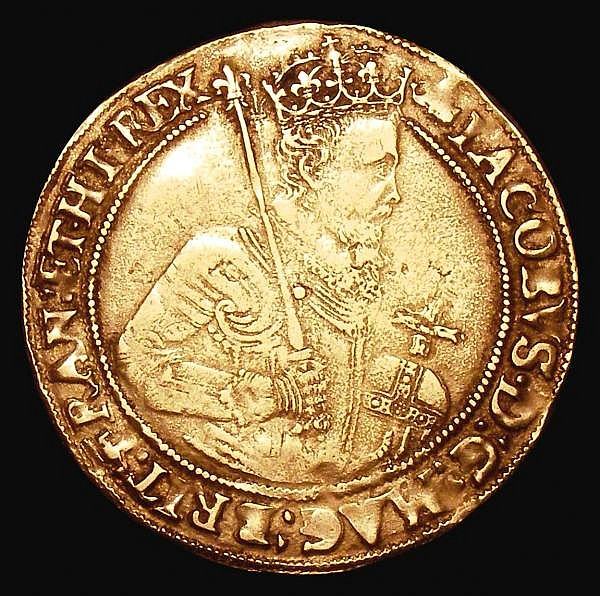 Unite James I Second Coinage Fourth Bust, S.2619 mintmark Bell over Coronet, Fine and bold, the overstrike on the mintmark clear