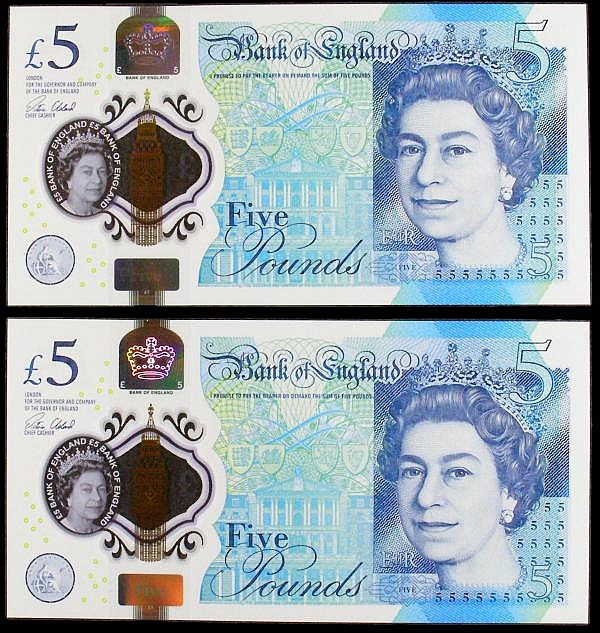 Five pound Cleland B414 (2) different prefix numbers but they have same serial number, AK02 353272 & AK18 353272, polymer plastic, Churchill on reverse, UNC (came from the Bank of England on 1st day of issue)